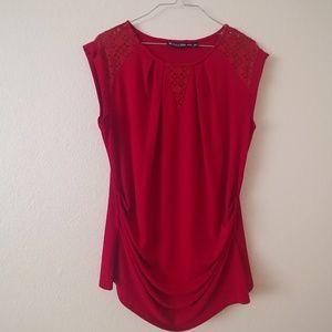 Sleeveless Red Blouse
